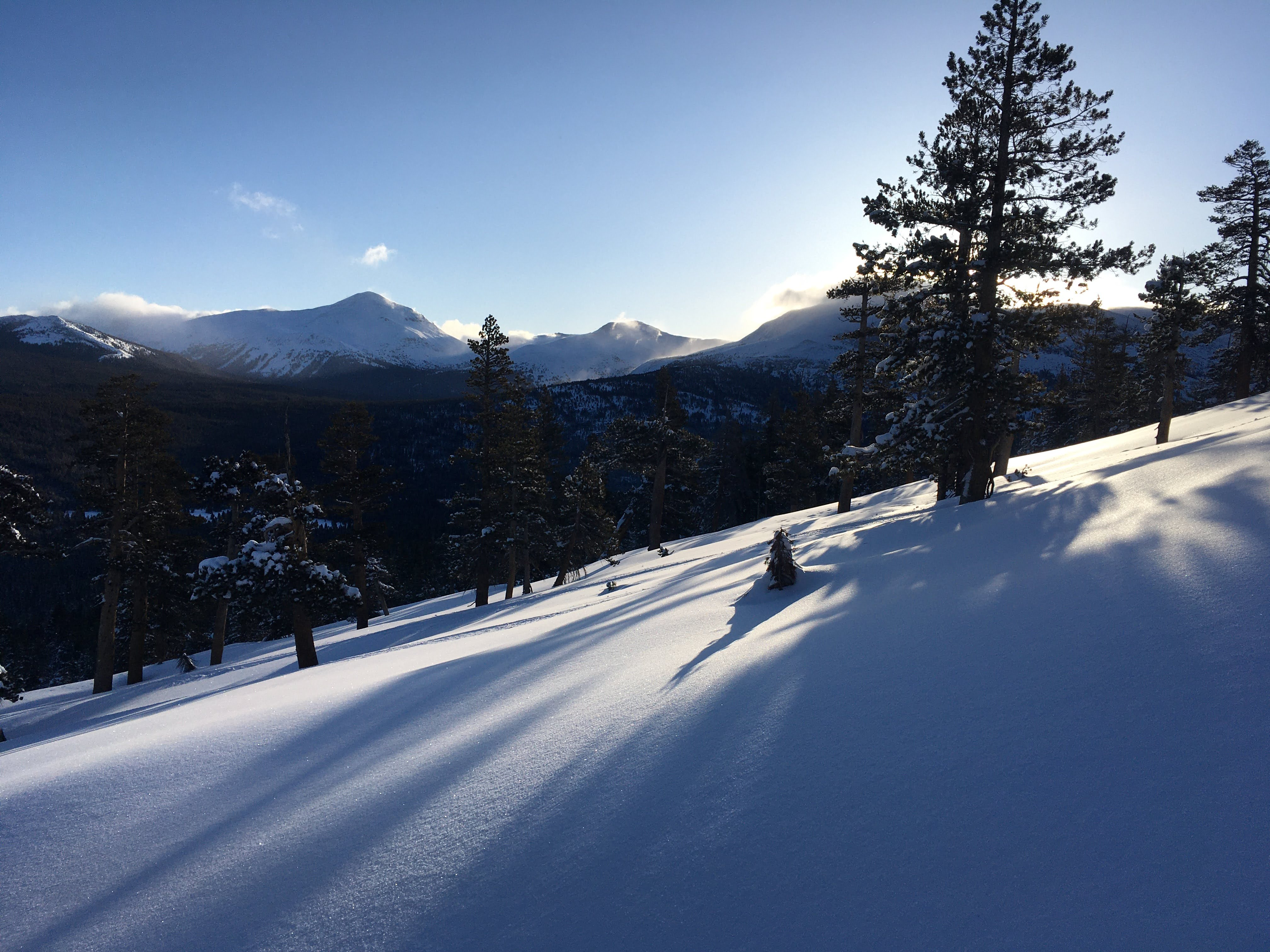 A fresh blanket of snow covers the hills above Tuolumne Meadows on March 21st, 2021