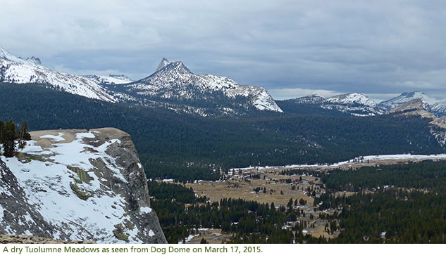 A view of Tuolumne Meadows from Dog Dome with very little snow.