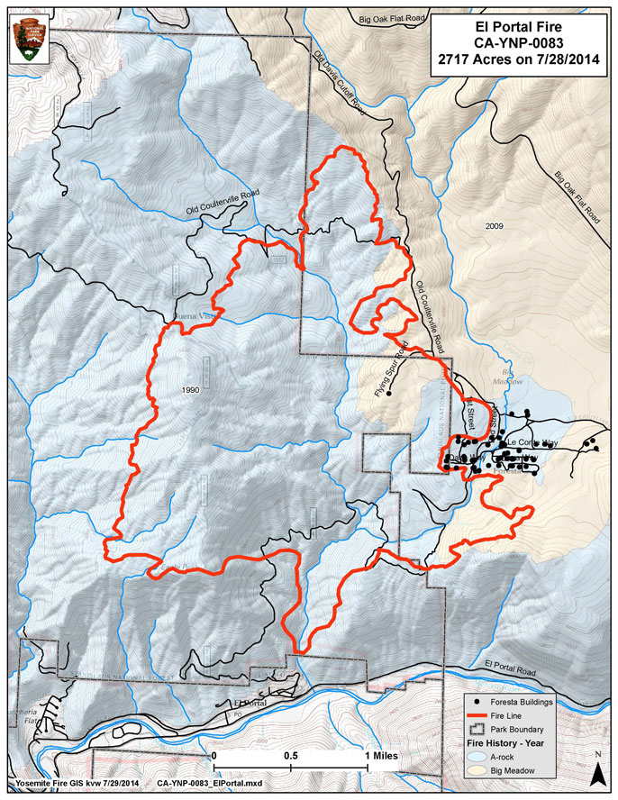 Map showing extent of the El Portal Fire