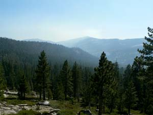 Cascade Fires - showing visible smoke from Tioga Road