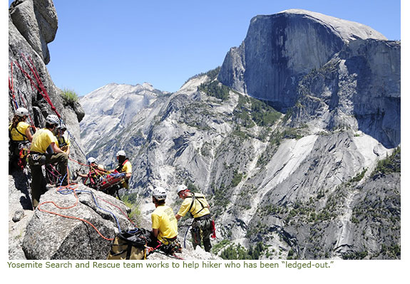 Yosemite Search and Rescue Team work to help hiker who has been