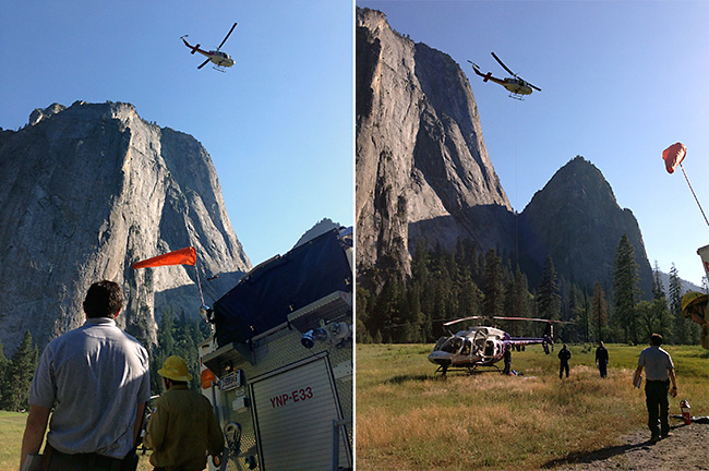 Subject is lowered to El Capitan Meadow for transfer to air ambulance helicopter