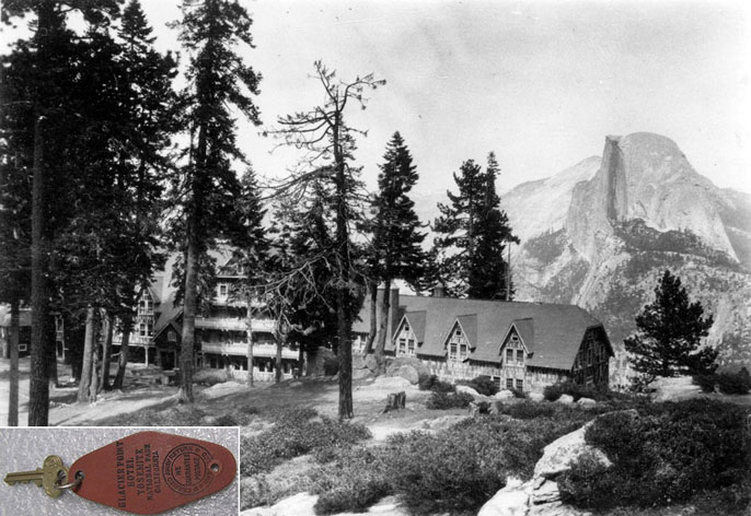 Glacier Point Hotel with Half Dome in the background