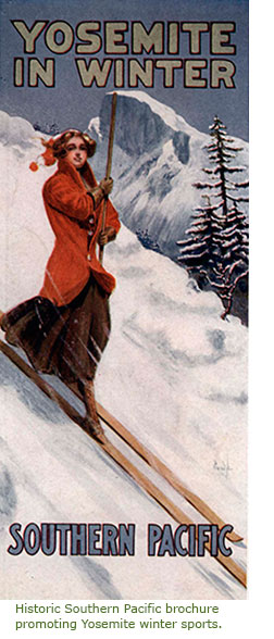 Historic Southern Pacific brochure promoting Yosemite winter sports