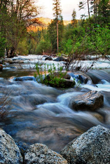 Water flows over rocks on the South Fork Merced River