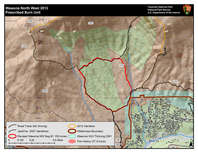 Map showing fire area northwest of Wawona