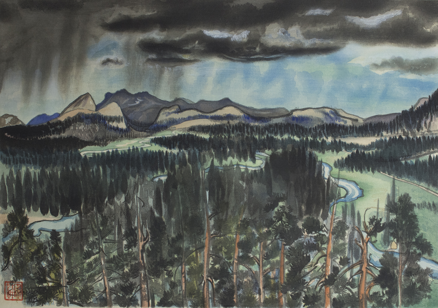 Chiura Obata Before Thunderstorm Tuolumne Meadows 1930 Color Woodcut On Paper