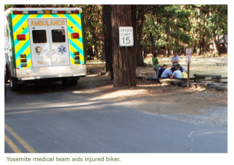 Yosemite medical team aids injured biker.