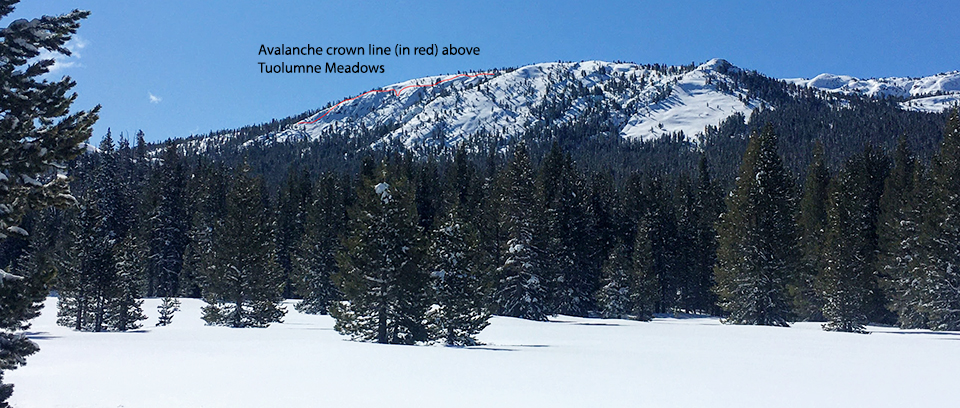 Avalanche crown line (shown in red) above Tuolumne Meadows occurring on north facing slope and gully on April 5-6, 2020.