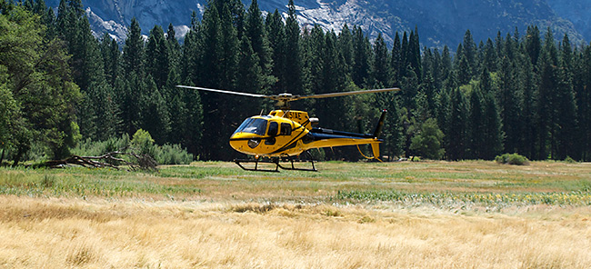Helicopter landing in Ahwahnee Meadow - Hiking Safe on Yosemite - Yosemite Search and Rescue (YOSAR)
