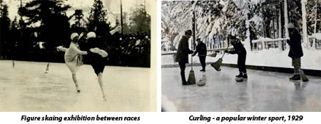 Historic photos showing ice skating and curling in Yosemite Valley, late 1920s.