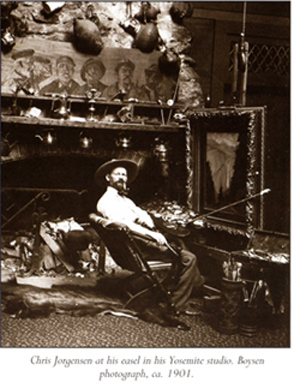 Chris Jorgenson at his Yosemite studio, 1901