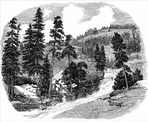 Lithograph showing cascade from In the Hearth of the Sierras by JM Hutchings, 1888