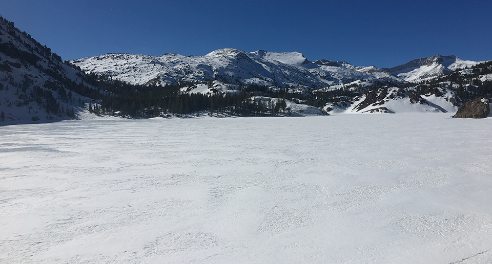 Looking to the Tioga high country from Ellery Lake on February 12, 2020.