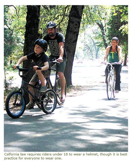 California law requires riders under 18 wear a helmet, though it is best practice for everyone to wear one.