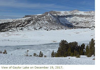 View of Gaylor Lake on December 19, 2017