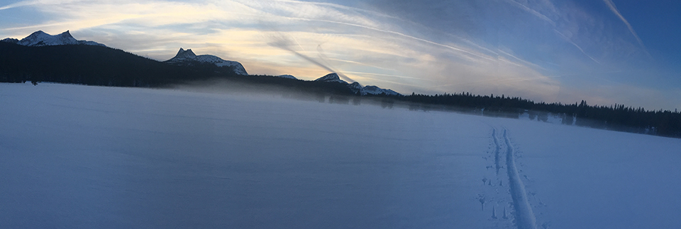 Ground fog at Sunset with ski tracks on December 16, 2020