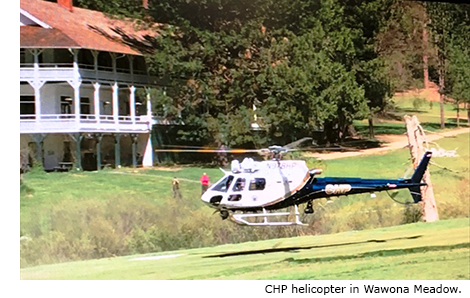 CHP Helicopter in Wawona Meadow