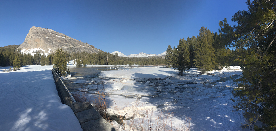 Ice jams causing the river to change course in the Tuolumne Meadows area on April 7, 2018.