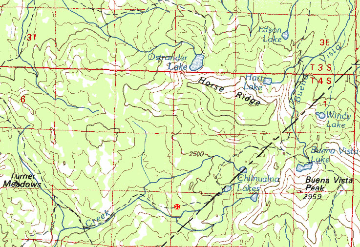 Map showing fire along the trail west of Chilnualna Lakes