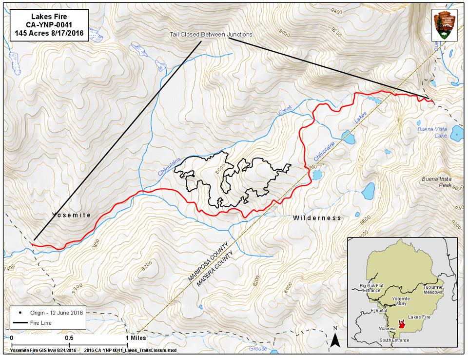 Map of Lakes Fire trail closure