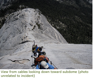 Looking down Half Dome cables toward the subdome
