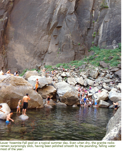 Image of Lower Yosemite Fall pool on a typical summer day with people scrambling on boulders.
