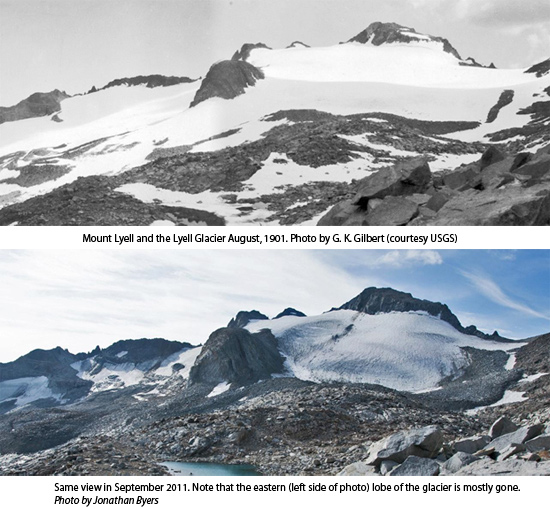 Comparing Lyell Glacier in 1901 to 2011