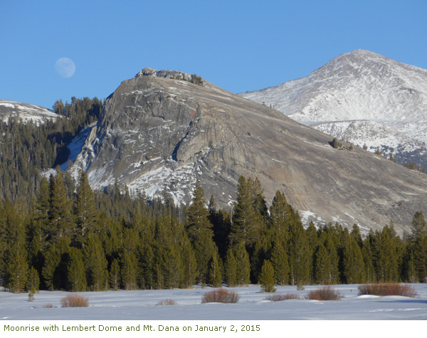 Moonrise with Lembert Dome and Mt. Dana on January 2, 2015