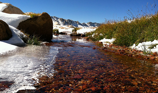 Partially frozen stream near Young Lakes