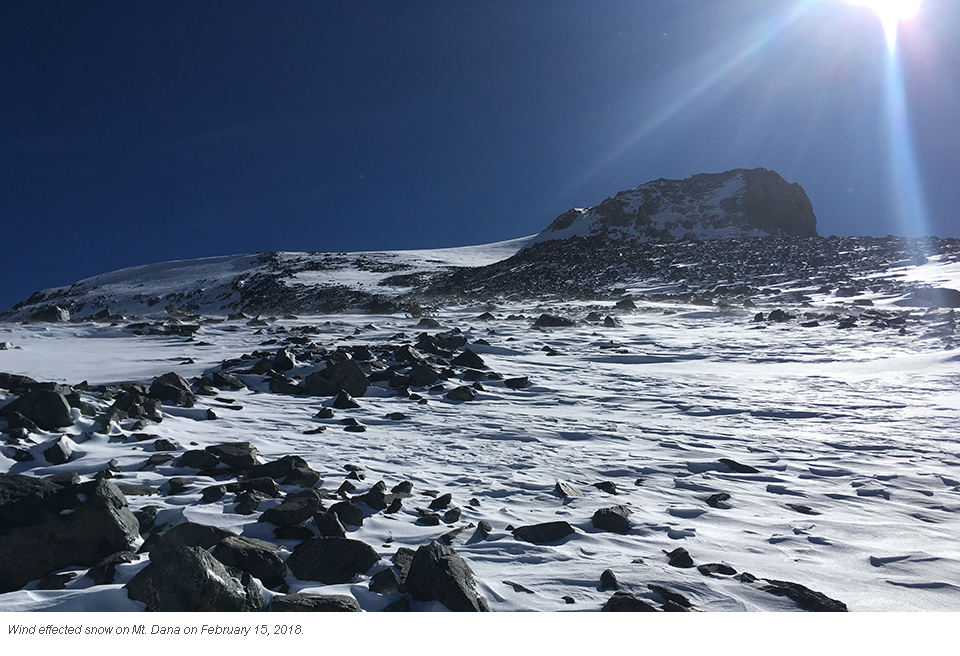 Snow that's been wind effected on Mt. Dana on February 15, 2018