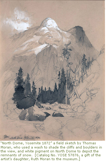 "North Dome, Yosemite 1872"" a field sketch by Thomas Moran, who used a wash to shade the cliffs and boulders in the view, and white pigment on North Dome to depict the remnants of snow."