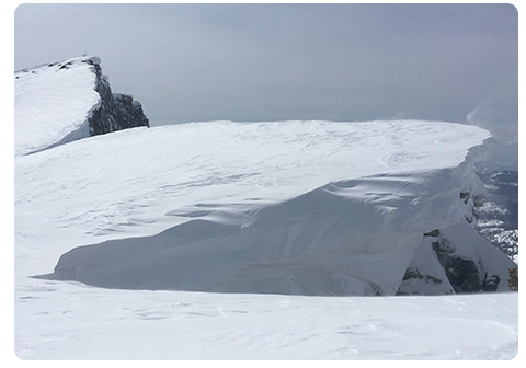 Cornice along the ridge of Mt. Hoffmann on March 25, 2019.
