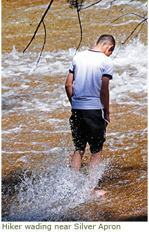 Person wading in water swiftly gliding over rock