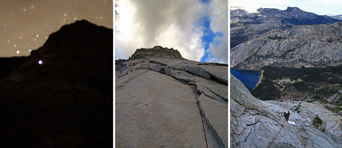 Three photos: left, a nighttime photo of a cliff with a light shining partway up; middle, looking up a very steep cliff with a climbing rope hanging down; right, looking down from a peak toward a lake and other peaks