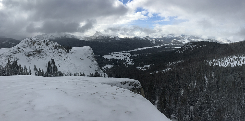 View of Tuolumne Meadows from Dog Dome on December 28, 2020