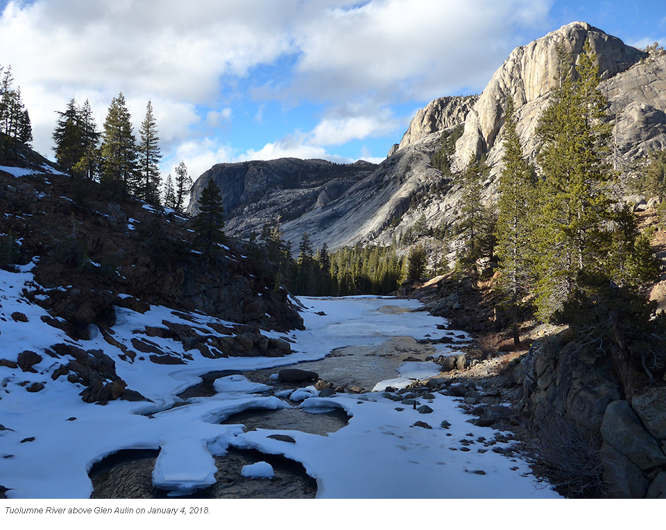 Tuolumne River at Glen Aulin on January 4, 2018. Some snow on banks