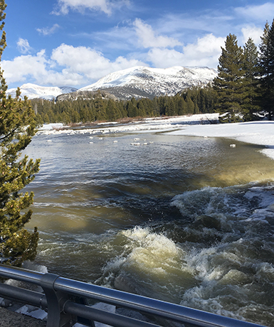 Tuolumne River draining from Tuolumne Meadows after flooding on April 7, 2018; a lot of water.
