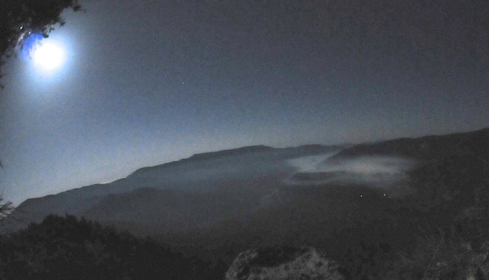 Smoke from the 2013 Wawona NW Prescribed fire, hanging in the air above the town of Wawona by moonlight