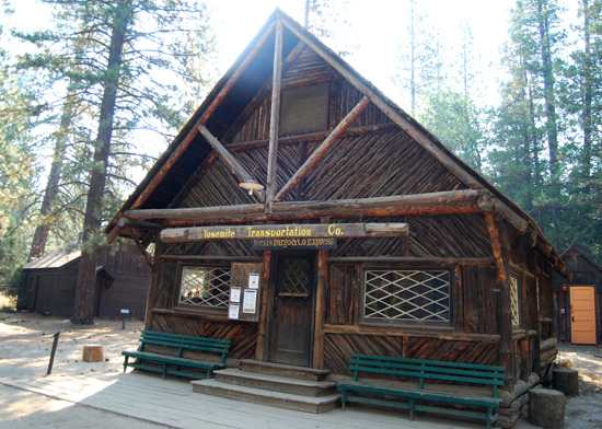 Photo of Wells Fargo building in the Pioneer Yosemite History Center in Wawona