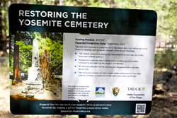 Yosemite Conservancy sign about restoration project