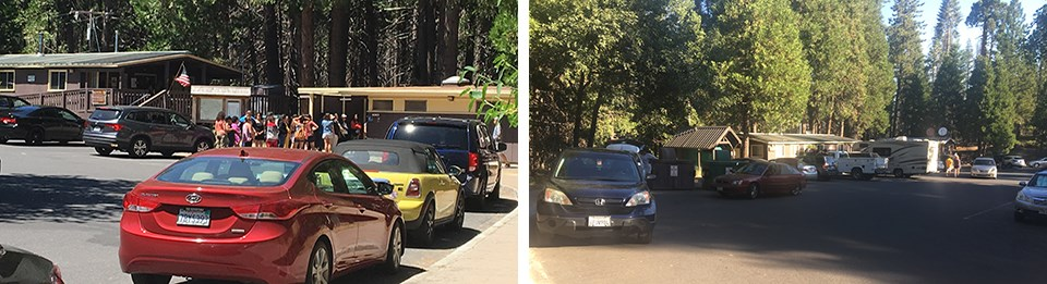 Two photos, left photo shows crowding of restrooms at Big Oak Flat Visitor Contact Station, right image shows crowded parking area at same facility