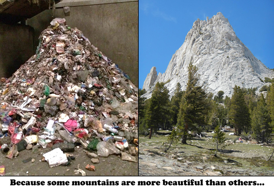 Picture of a mountain of trash and a real mountain in Yosemite's high country