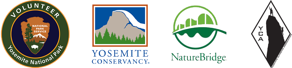 Logos of Yosemite National Park's volunteer program, Yosemite Conservancy, NatureBridge, and Yosemite Climbing Association