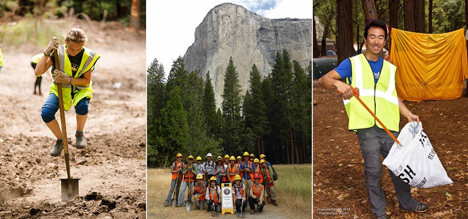 Three images: a person shoveling, a group of volunteers in front of El Capitan, and a person picking up trash