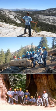 Three images showing YCC youth at work in the outdoors
