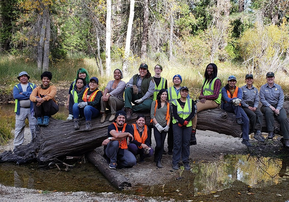 Volunteers and park staff sitting on a log in the river after a day of work