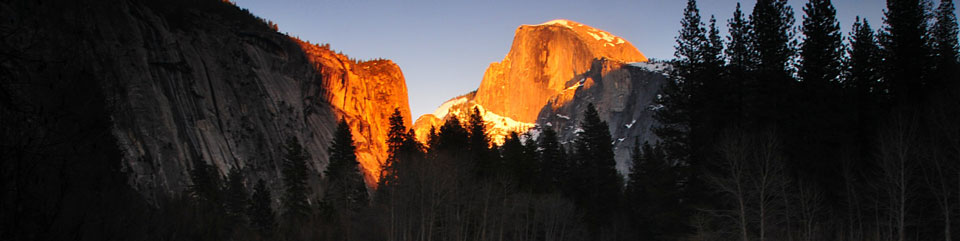 View of Half Dome and Washington Column in Yosemite Valley