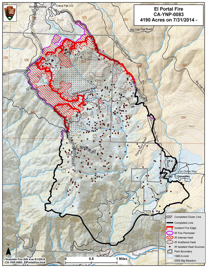 Fire Map Yosemite.Yosemite Fire Update August 1 2014 As Of 7 00am Yosemite National