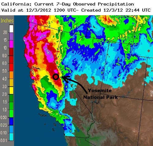 Map showing abundant rainfall throughout California, with Yosemite in the 6- to 8-inch range